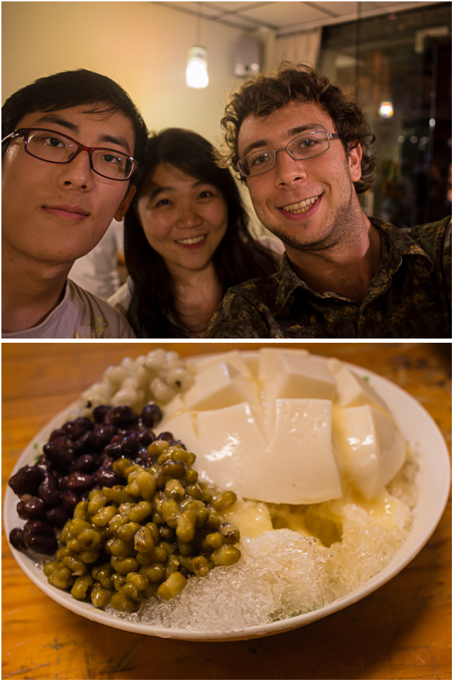 Language Partner and Tofu Milky Sauce Shaved Ice Dessert