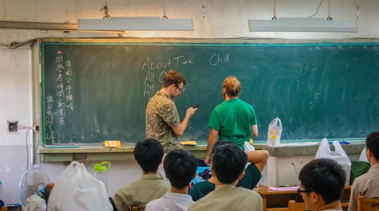 Tainan First High School Teaching English Slang on Board