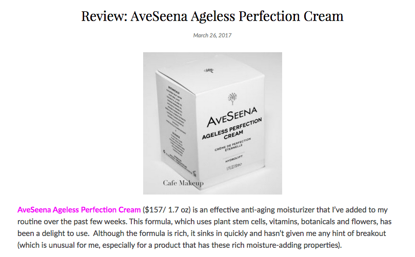 CafeMakeup.com Review: AveSeena Ageless Perfection Cream