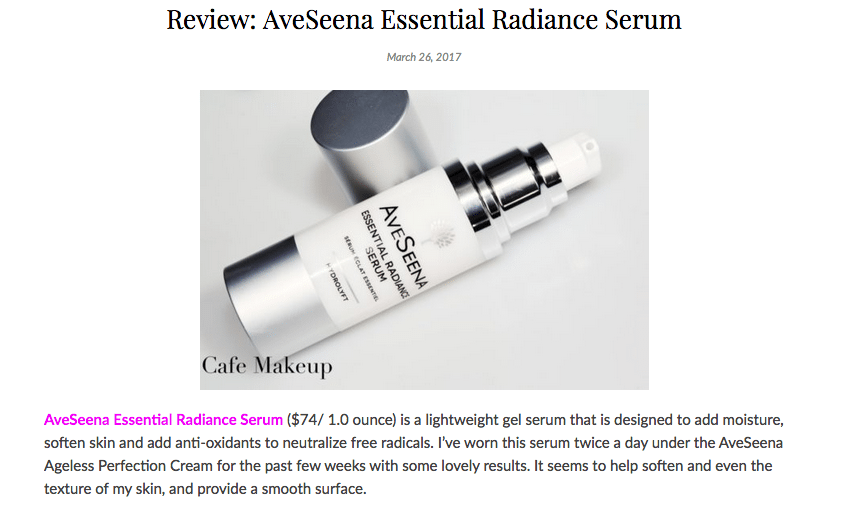 CafeMakeup.com Review: AveSeena Essential Radiance Serum