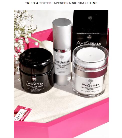 Beauty influencer reviews Aveseena skin care line