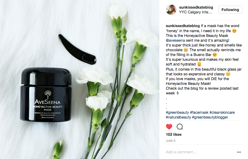 Sunkissedkate reviews aveseena skin care honeyactive beauty mask instagram