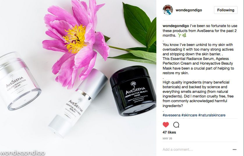 Instagram Aveseena skin care review by wondegondigo