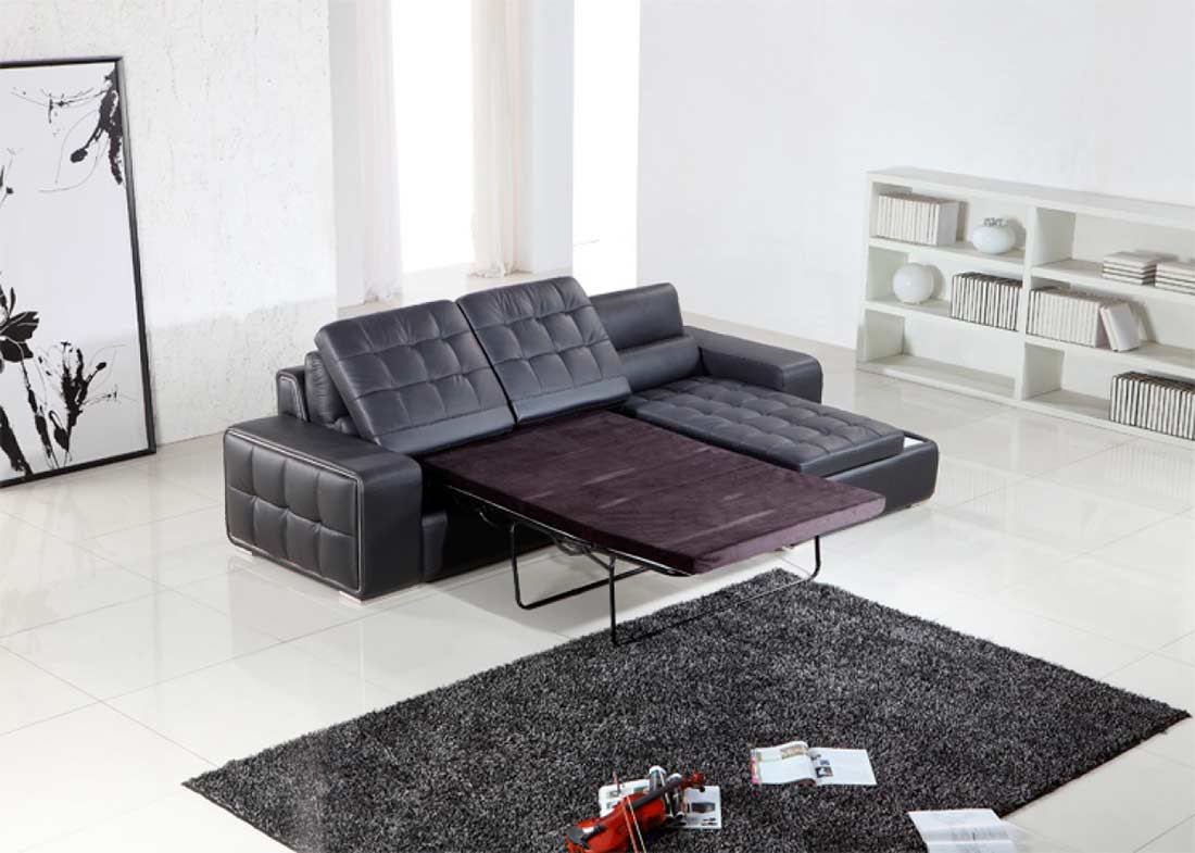 Black Leather Sectional Sofa Bed Vg125 Leather Sectionals