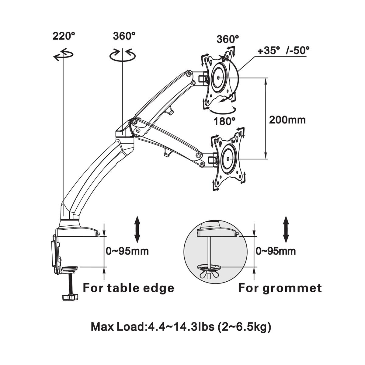 Boost Universal Dm100 Gas Strut Desktop Flexi Mount For