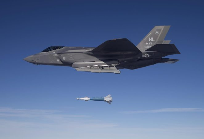 Lt. Col. George Watkins, the 34th Fighter Squadron commander, drops a GBU-12 laser-guided bomb from an F-35A Lightning II at the Utah Test and Training Range Feb. 25, 2016. The 34th FS is the Air Force's first combat unit to employ munitions from the F-35A. (U.S. Air Force photo/Jim Haseltine)