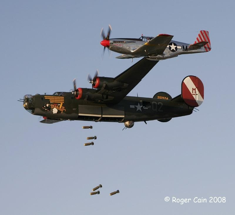B-24 WITH P-51 BOMB DROP