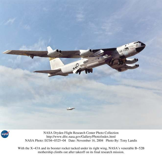 NB-52B launch aircraft takes off carrying the X-43A (photo by NASA)