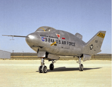 X-24 Lifting Body used for unpowered landing research that would be applied to the Space Shuttle.