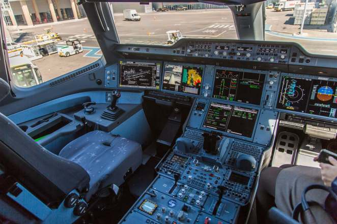 Airbus A350 cockpit (Photo by Joao Carlos Medau).