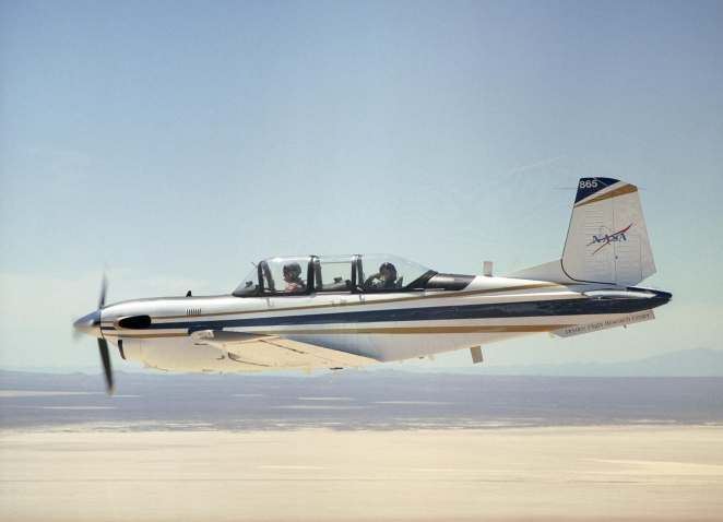 A NASA T-34, similar to the one shown, will be equipped with autonomous operating systems to fly, navigate, and avoid other aircraft. A safety pilot will be aboard.