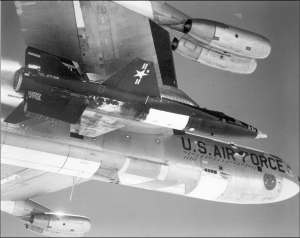 X-15 Under the Wing of NB-52 on takeoff