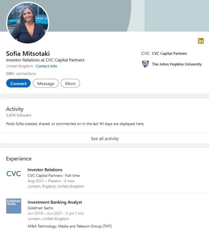 Το προφίλ της Σοφίας Μητσοτάκη στο Linkedin