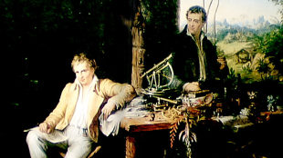 Eduard Ender (Austrian, 1822-1883). Alexander von Humboldt and Bonpland in the Jungle Hut, ca. 1850. Archive of the Berlin-Brandenburg Academy of Sciences and Humanities.