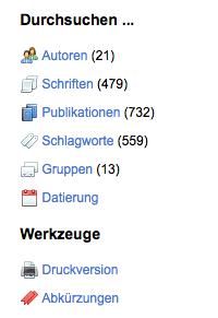 Screenshot der Bibliographischen Datenbank zu Humboldts unselbständigen Schriften