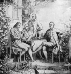 Das Werk der Gebrüder Humboldt ist nur im Kontext ihrer (Selbst-)Übersetzungen adäquat zu verstehen. Bild: Adolph Müller (ca. 1797), Schiller, Wilhelm und Alexander von Humboldt und Johann Wolfgang von Goethe in Jena (Quelle: Wikimedia Commons)