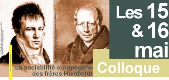 """15/05-16/05/2014, Coloque: """"La sociabilité européenne des frères Humboldt"""", Paris"""