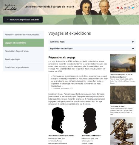 """L'exposition virtuelle """"Les frères Humboldt, l'Europe de l'esprit"""" (capture d'écran)"""