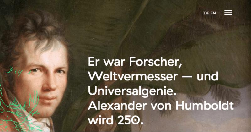 avhumboldt250.de: Informationsplattform zum Humboldt-Jahr 2019 gestartet