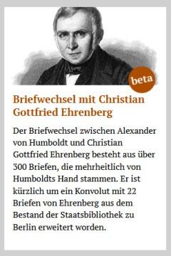 Alexander von Humboldt: Briefwechsel mit Christian Gottfried Ehrenberg, hrsg. von Anne Wendt. edition humboldt digital