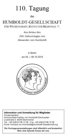 110. Tagung der Humboldt-Gesellschaft, Veranstaltungsflyer (PDF)