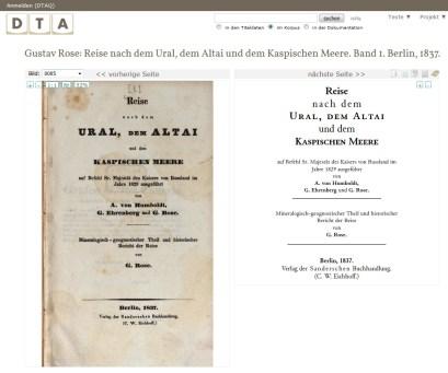 Gustav Rose: Reise nach dem Ural, dem Altai und dem Kaspischen Meere, Bd. 1, Berlin 1837