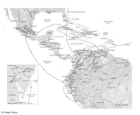 Humboldts Reiseroute in den amerikanischen Tropen und den USA in den Grenzen von heute