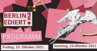 22./23.10.2021 (webex): BERLIN EDIERT! (2): Berliner Editionsprojekte stellen sich vor