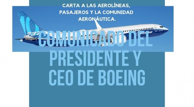 Carta del PRESIDENTE Y CEO de Boeing Dennis Muilenburg a las aerolíneas, pasajeros y a la comunidad AERONÁUTICA.