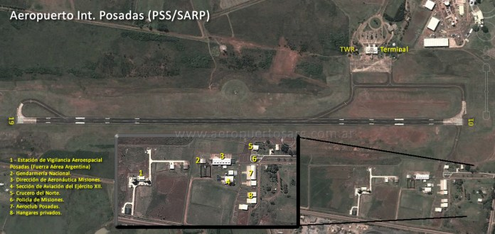 Vista satelital del aeropuerto de Posadas.