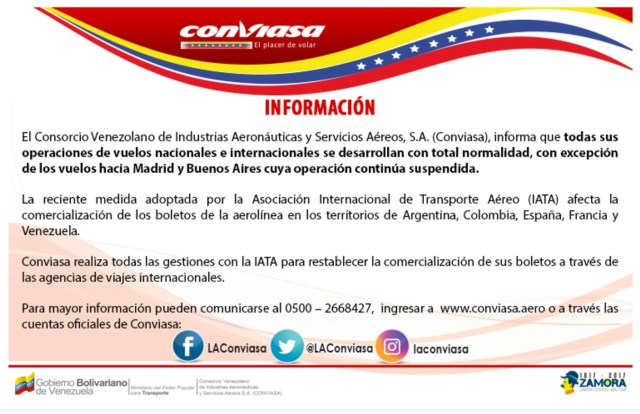 Conviasa - comunicado vuelo Bs As Madrid JUN2017