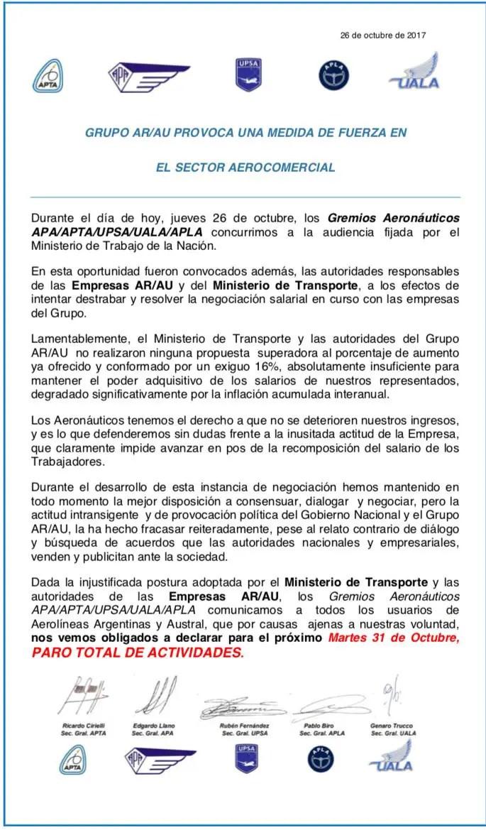 Aerolíneas Argentinas - anuncio Paro 31OCT