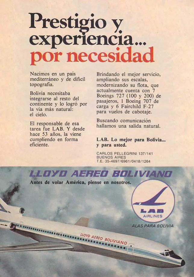 Publicidad de la aerolínea en el año 1978