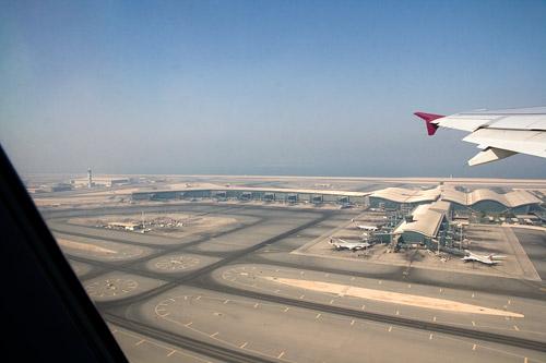 Аэропорт Дохи с высоты