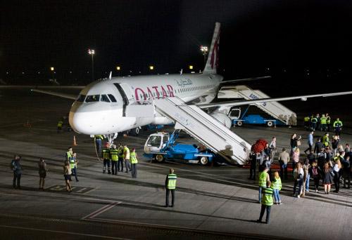 Самолет Airbus A320 Qatar Airways в Киеве