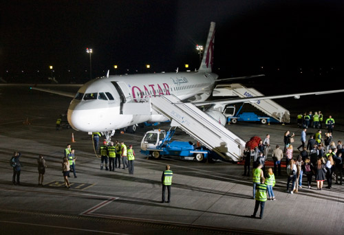 Самолет Airbus A320 Qatar Airways в Киеве