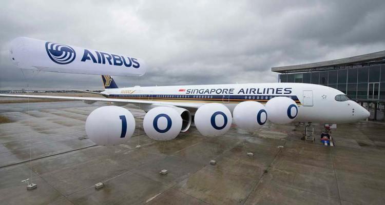 10.000° aereo Airbus consegnato A350-900 Singapore Airlines