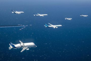 50° Anniversario Airbus volo in formazione