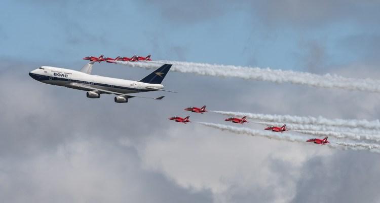 Sorvolo 747 British Airways e Red Arrows RIAT 2019