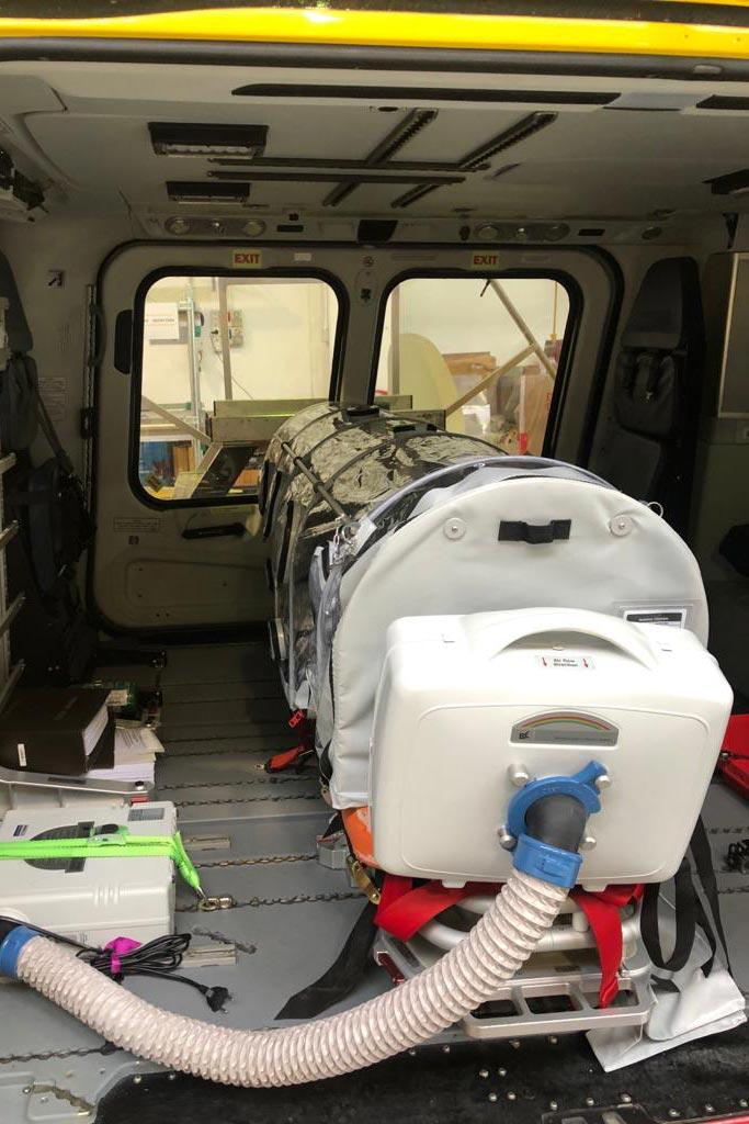 barella biocontenimento elicotteri per elisoccorso di Babcock