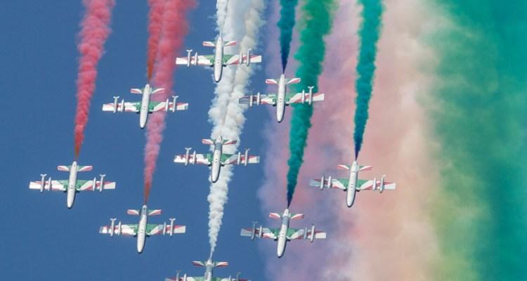 Sorvolo della Frecce Tricolori sull'autodromo di Monza