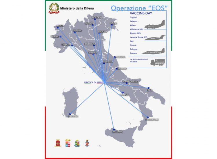 Al via l'Operazione Eos della Difesa per la distribuzione dei vaccini  anticovid: per il piano previsti 11 aerei e 73 elicotteri - Aviation Report
