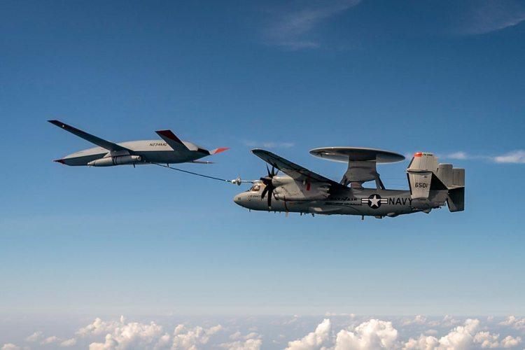 MQ-25 refueling US Navy E-2D Hawkeye