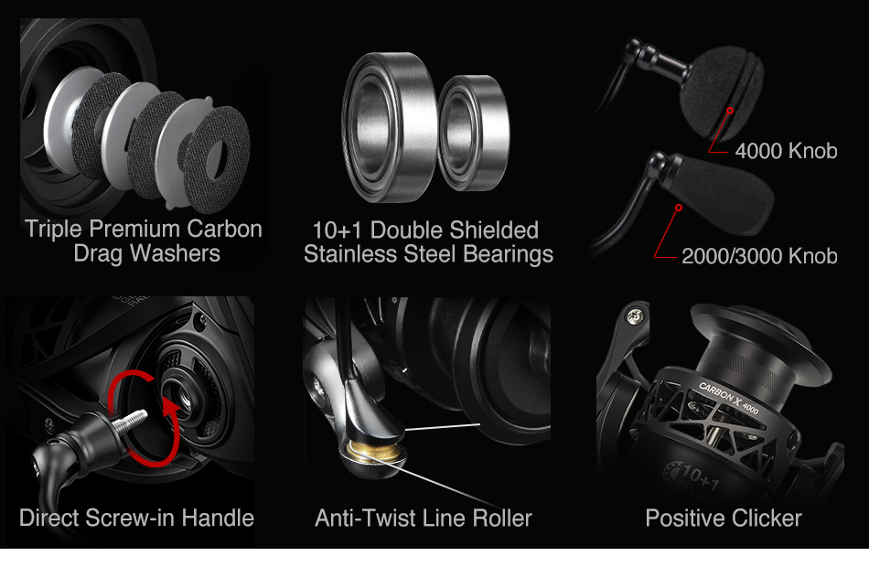 Piscifun Carbon X Spinning Reel Light to 220g 6.2:1 Gear Ratio 11 BB Carbon Frame Rotor 2000 3000 4000 Saltwater Fishing Reel 9