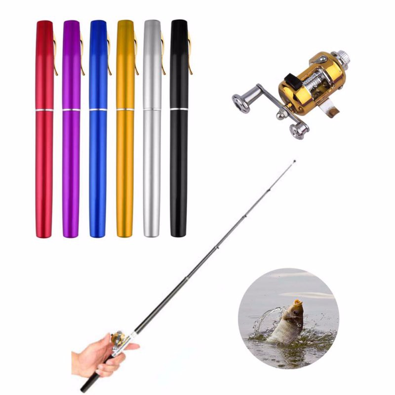 Portable Pocket Telescopic Mini Fishing Pole Pen Shape Folded Fishing Rod With Reel Wheel 10