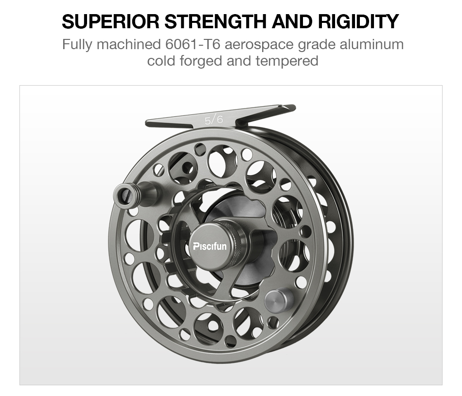 Piscifun Space Grey Sword Fly Reel CNC-machined Aluminium Material 3/4/5/6/7/8/9/10 WT Right Left Handed Fly Fishing Reel 4