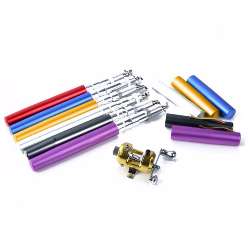 Portable Pocket Telescopic Mini Fishing Pole Pen Shape Folded Fishing Rod With Reel Wheel 19