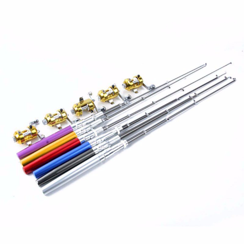 Portable Pocket Telescopic Mini Fishing Pole Pen Shape Folded Fishing Rod With Reel Wheel 24