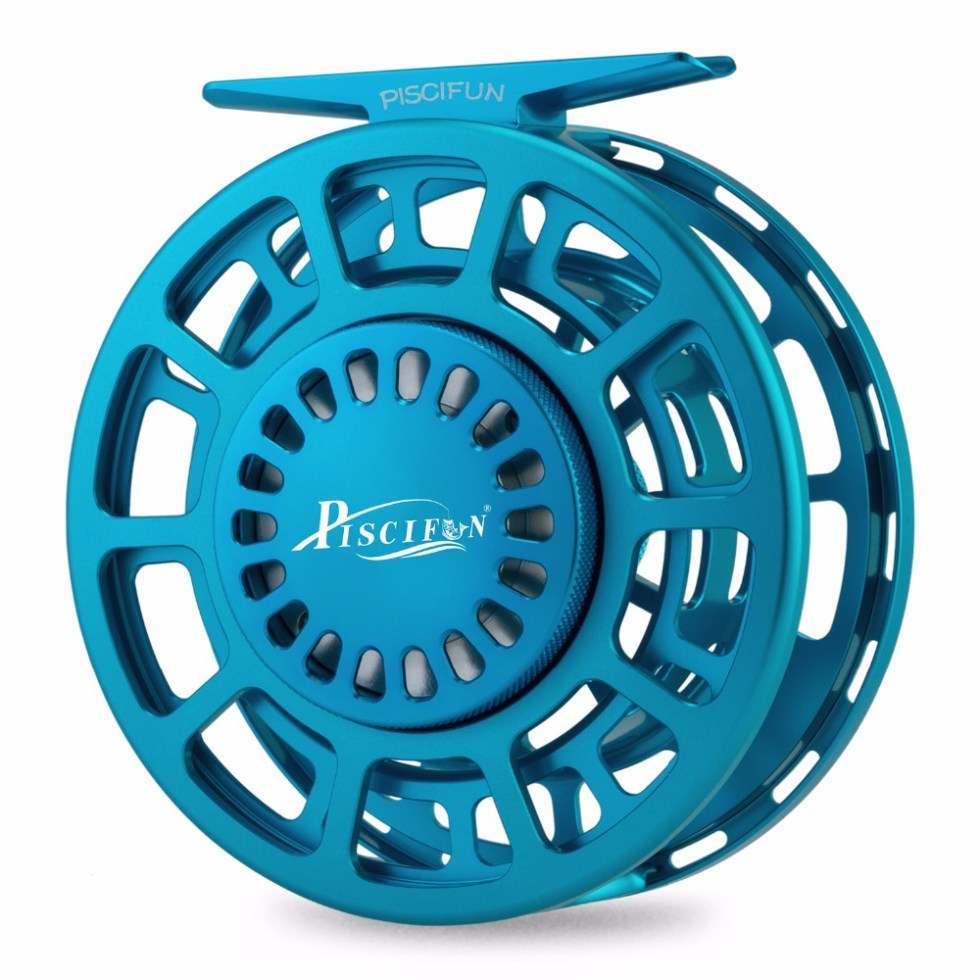 Piscifun Platte Blue Fly Fishing Reel 3/4 5/6 7/8 9/10 WT CNC Machine Cut Fishing Reel Large Arbor Aluminum Fly Reel 8