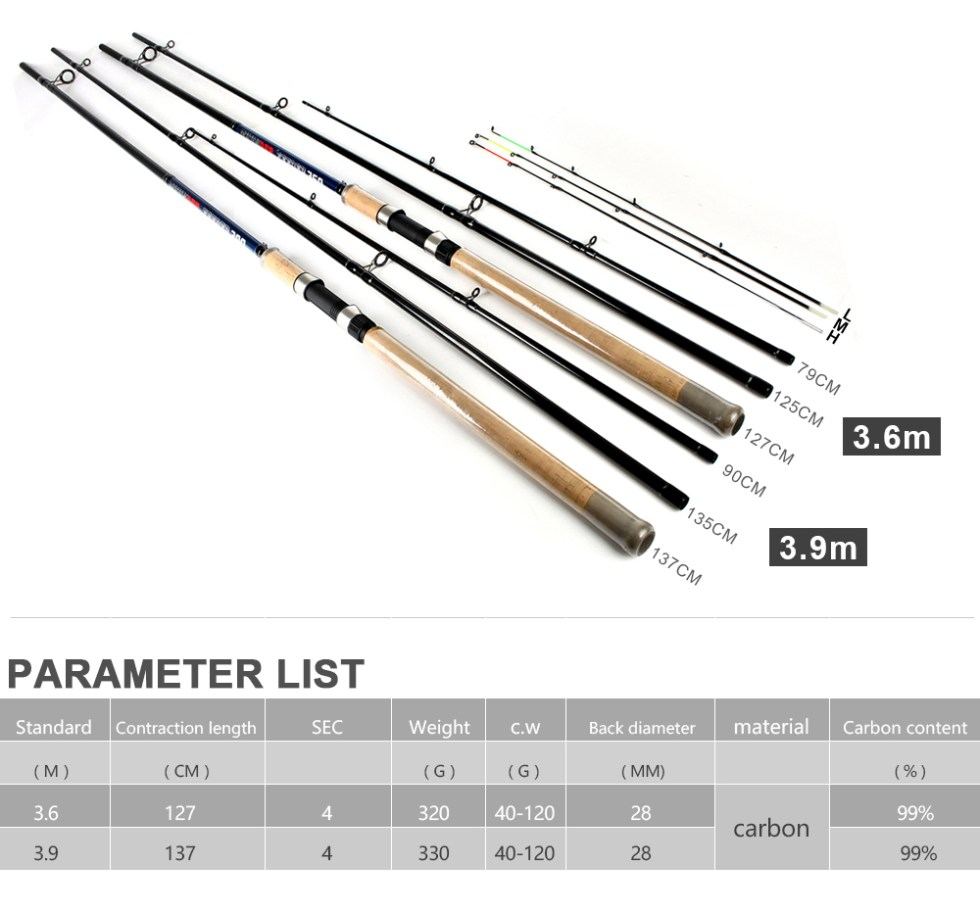FISH KING Feeder High Carbon Super Power 3 Sections 3.6M 3.9M L M H Lure Weight 40-120g Feeder Fishing Rod Feeder Rod 13